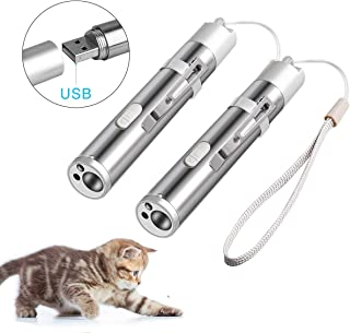 Coolrunner 2 Pack USB Rechargeable Cat Toys, Cat Chaser Toy Pet Training Exercise Chaser Tool, 3 in 1 Cat Interactive Toys for Kitty and Dogs