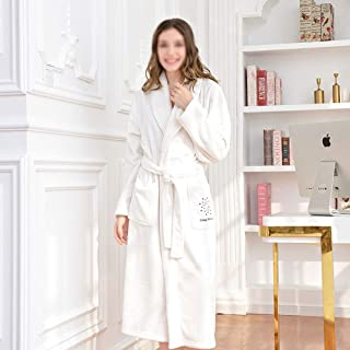 HYM Unisex Dressing Gown, Ladies Coral Fleece Bathrobe Warm, Soft & Cosy Towelling Robe Housecoat with Full Length, Healthy Fabric, Warm, Soft & Cosy,White-M