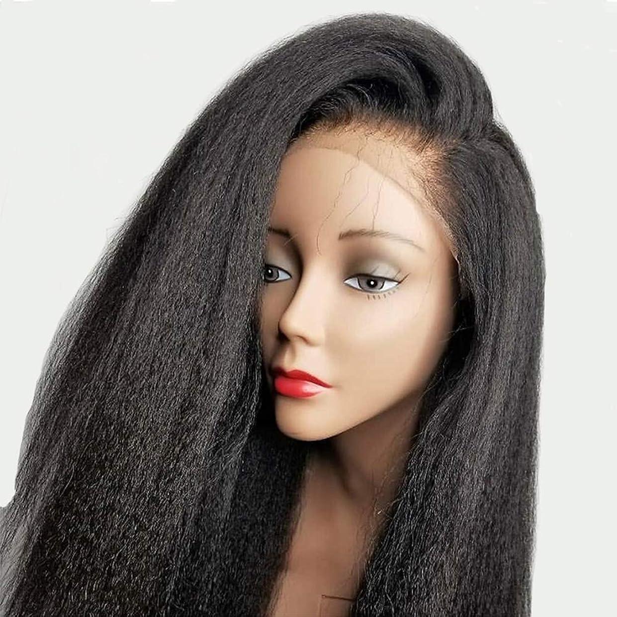 突然のレギュラー作業女性ストレートヘアレース前頭かつらブラジルバージン人間の髪赤ちゃんの髪の合成ナチュラルブラック24インチ