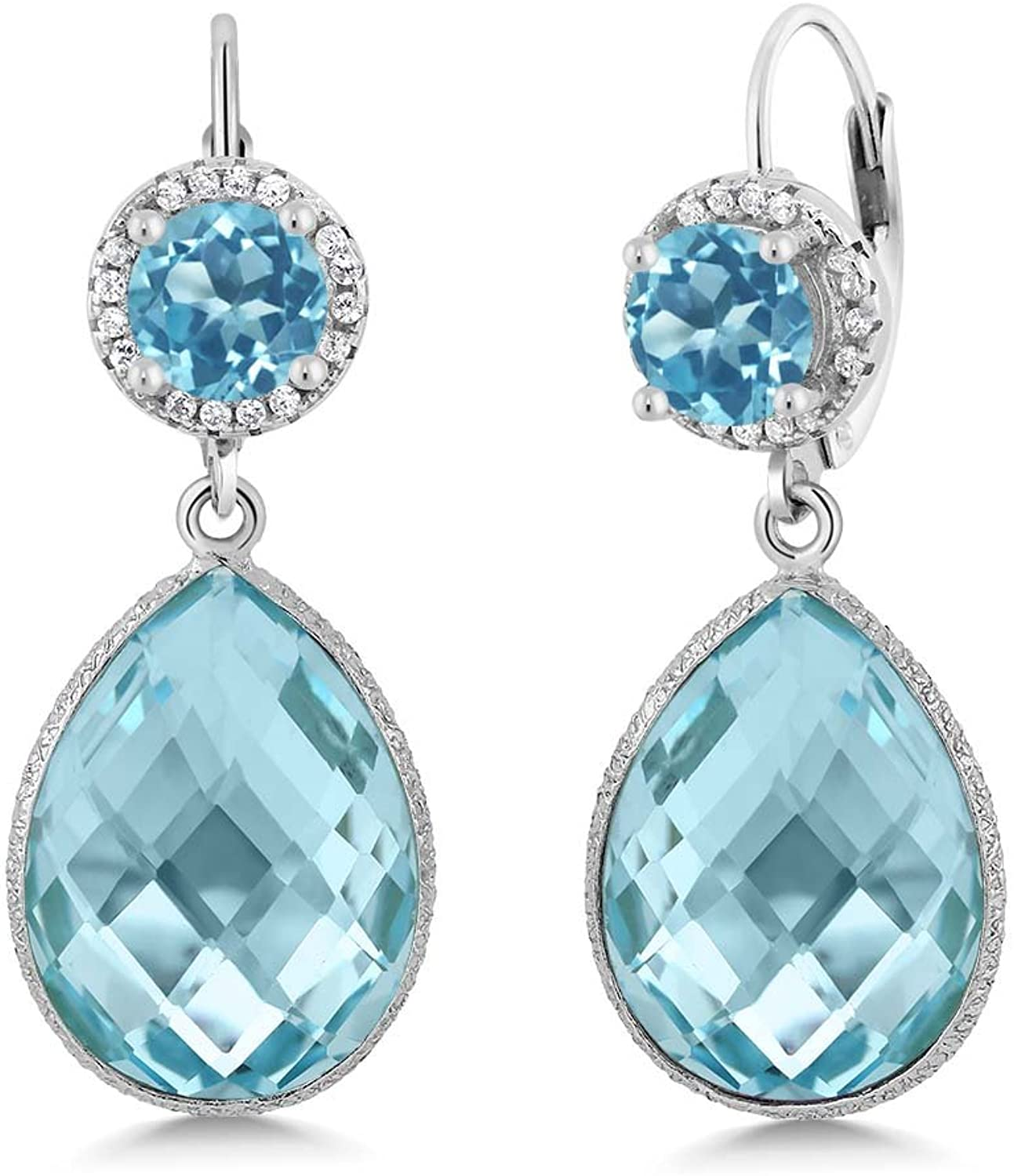 1.80 Ct Round Swiss bluee Topaz Swiss bluee Topaz 925 Sterling Silver Earrings