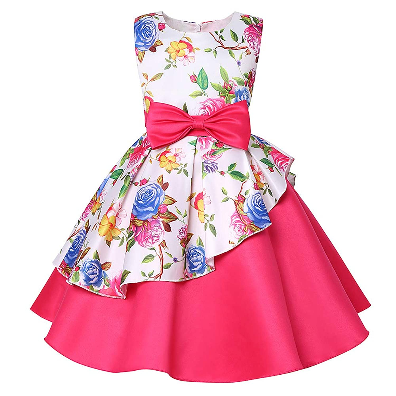 ガールズドレス 女の子ドレス ワンピース 不規則な裾 蝶結びリボン 入園式 結婚式 卒業式 お花柄 袖なし
