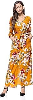 Xi Fan Women's Long Sleeve Dress Floral Printed Wrap Maxi Long Dresses with Belt