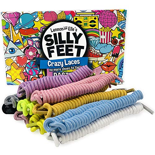 Silly Feet No Tie Shoelaces Kids Shoe Laces Curly Twisty Elastic Shoe Strings Children Toddler Laces 10 Pairs