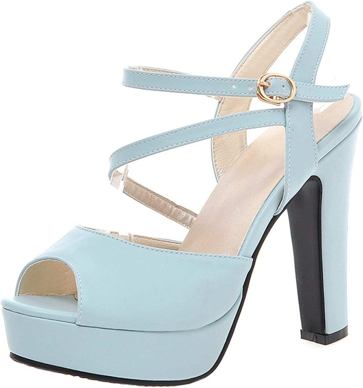 Rongzhi Womens Heeled Sandals Ankle Strap Pumps Block High Heels Platform Formal Dress shoes Peep Toe