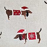 Stoff Meterware Baumwolle natur Dackel Hund Weihnachtsstoff