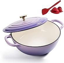 Home 26Cm Cast Iron Casserole Pan, Enameled Cast Iron Dutch Oven with Lid, Nonstick Enamel Cookware Crock Pot for Cooking ...