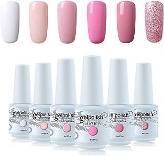 Vishine Gel Nail Polish Kit Set of 6 Color French Manicure White Pink Series UV LED Soak Off Gel 8ml Professional Nail Art Gift Set 8ml