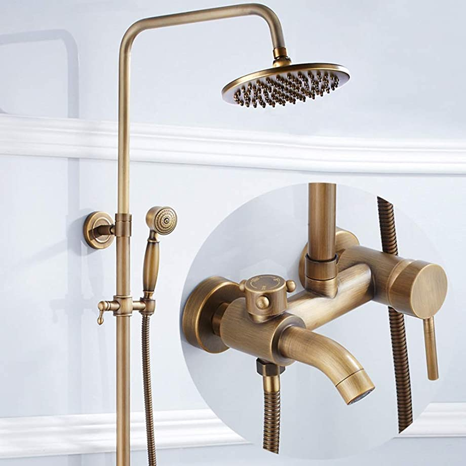 健康的生き残りますかび臭いZYL-YL シャワーセットのヨーロッパのレトロ3速クイックオープニングシャワーの蛇口シャワー真鍮アンティークリフトシャワーセット浴室用品給水