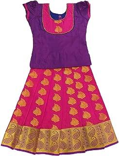 Pattu Pavadai Baby Girls/Kids Traditional Silk Pavada Set (Violet and Pink; 6 Months - 5 Years)