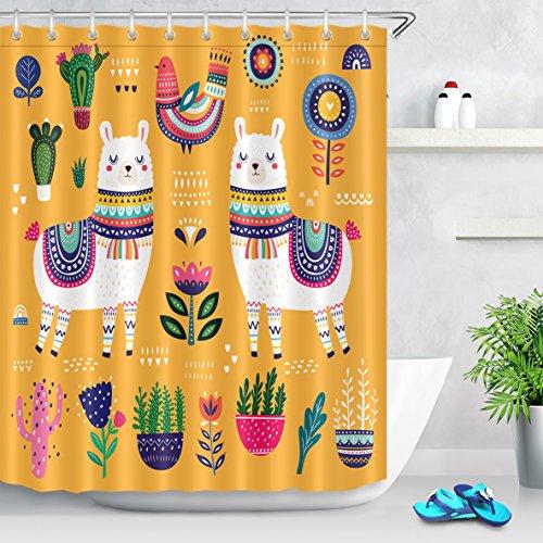 LB Duschvorhang Nettes weißes Alpaka 150X200CM Kaktus,grüne Pflanze,Blumen,lustig Bad Vorhänge mit Vorhanghaken Polyester Wasserdicht Anti Schimmel Badezimmer Vorhang
