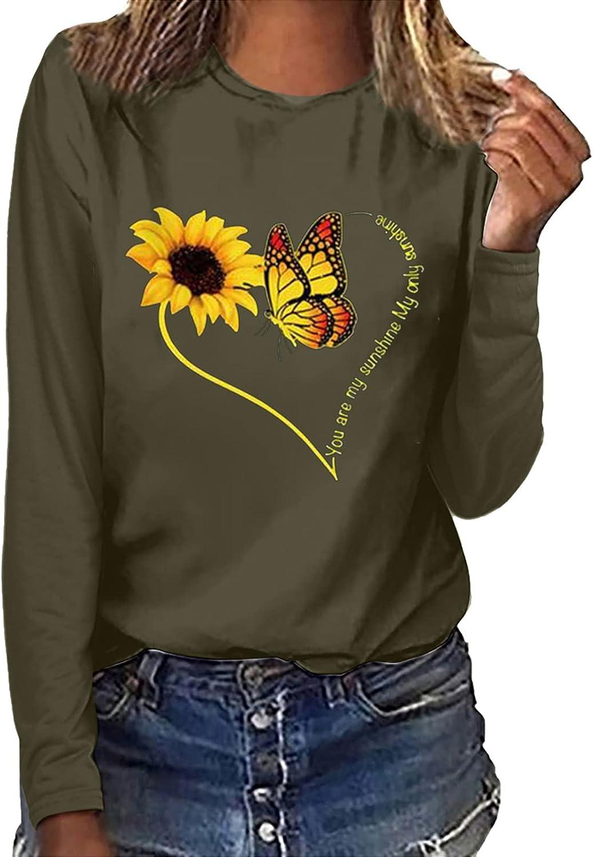 GOODTRADE8 Women Print Casual Printing Long Sleeve Sweatshirt Pullover Tops Blouse Summer Tops Tee Shirts Blouse