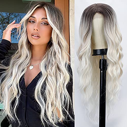 Lativ Long Wavy Wig Ombre Platinum Blonde Wigs for Women Middle Part Curly Synthetic Hair Natural Looking Heat Resistant Fiber for Daily Party Use