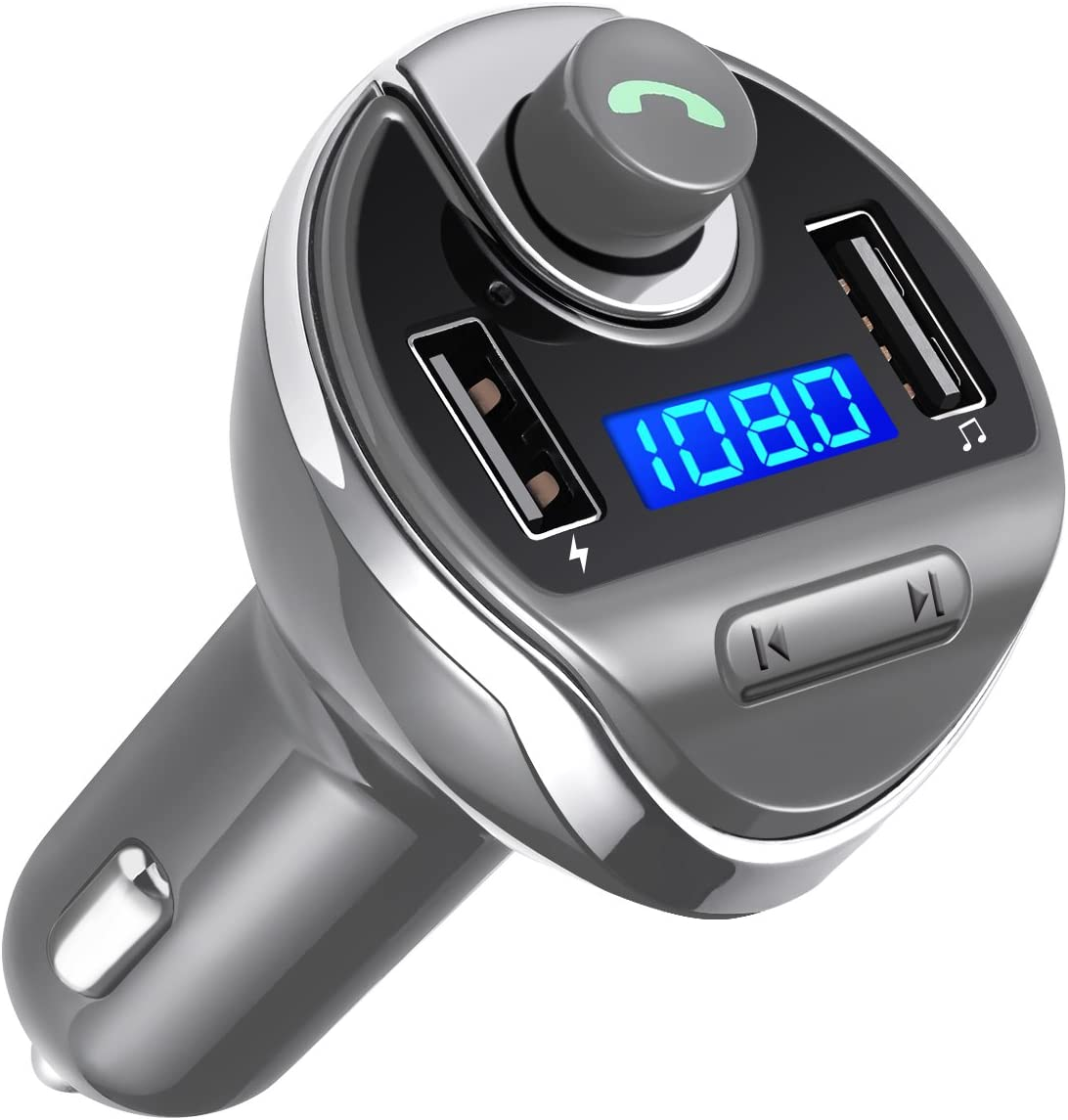 Criacr Bluetooth FM Transmitter for Car, Wireless FM Transmitter Radio Adapter Car Kit, Universal Car Charger with Dual USB Charging Ports, Hands Free Calling for All Smartphones.(Grey)