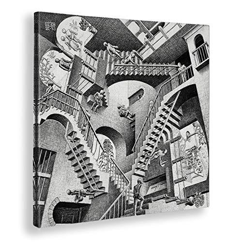 Giallobus - Cuadro - Impresion EN Lienzo - M.C. Escher - RELATIVIDAD - 100 x 100 CM