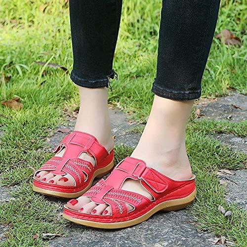ypyrhh Sandalias Mujer Verano Planas Bohemia,Zapatillas de Sandalia de Gran tamaño,Pendiente de Fondo Grueso con Sandalias de Playa-Rojo_42,Hombres Mujeres Sandalias
