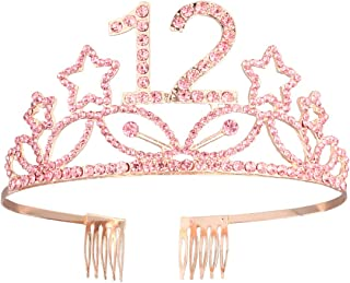 Beaupretty Happy 12th Birthday Tiara Rhinestone Crown with Hair Comb (Rose Gold)