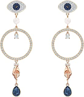 Crystal Symbolic Multi-Colored Rose Gold-Tone Hoop Circle Earrings