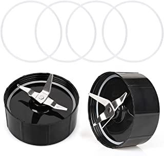 [2-Pack] Magic Bullet Cross Blade, QT Cross Blade Replacement Parts with 4PCS Extra Gaskets Compatible with 250W Magic Bullet Blender Juicer Mixer