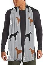 MoMo Patrón galgos gris Hombres bufanda de la cachemira caliente sedoso - bufandas de algodón para el invierno