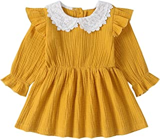 Toddler Infant Baby Girl Dress Cotton Linen Doll Collar Long Sleeve Princess Overall Dress Autumn Outfits