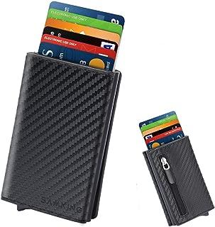 Tarjeteros para Tarjetas de Credito, SAMKING Automática Pop-up Tarjeteros Cuero Cartera para Mujer y Hombre (Carbon Negro)