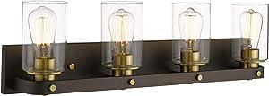 Emliviar 4-Light Bronze Bathroom Light, Industrial Vanity Light Fixture with Clear Glass Shade, YCE1901-4W ORB+BG