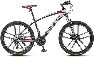 24 Speed Mountain Bike All-Terrain Mens Outroad Bicycle 26 Inch Wheel Steel Frame Mechanical Disc Brakes Suspension Fork Anti-Slip Bikes,Red