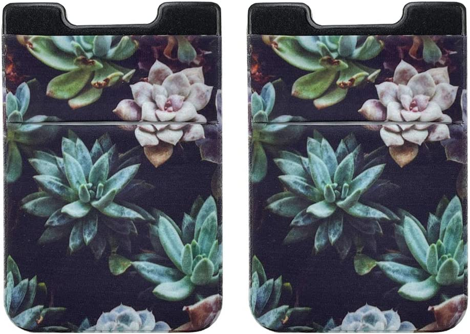 Pastel Bay 2 Pack Adhesive Cell Phone Credit Card Stick On Wallet Holder Phone Pocket Pouch Sleeves for iPhone,Samsung Android and All Smartphones (Succulent Cacti)