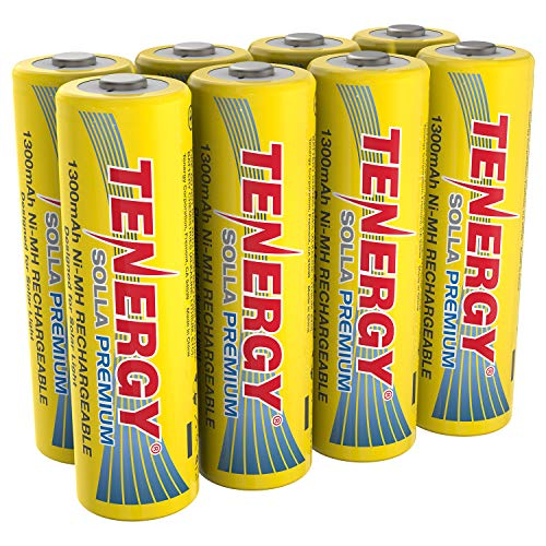 Tenergy Solla Premium Rechargeable NiMH AA Battery, 1300mAh Solar Batteries for Solar Garden Lights, Anti-Leak, Outdoor Durability, 5+ Years Performance, UL Certified, Pre-Charged 8 Pack