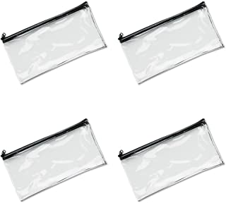 MMF Industries Vinyl Zipper Wallet, 11 x 6 Inches, Clear (234041720), 4 Packs