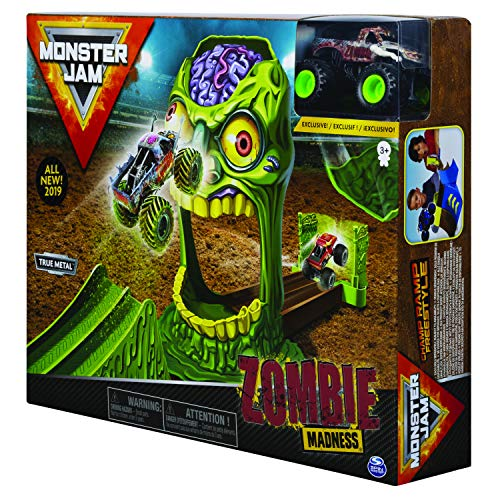 Monster Jam, Official Zombie Madness Playset Featuring Exclusive 1:64 Scale Die-Cast Zombie Monster Truck