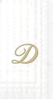 """Ideal Home Range 96 Count Stripes Again Monogram Letter D Paper Guest Towel Napkins, 8.5"""" x 4.5"""""""