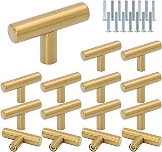 Roestvrij staal T Bar Handvatten, DBAILY 15 stks Single Hole Cabinet Trekt Herbruikbare Keuken Deur Handgrepen Geborsteld ...