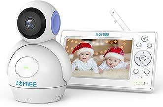"""HOMIEE Bebé Monitor Vigilabebés con cámara inalámbrico de vídeo LCD HD de 5"""", Visión Nocturna, Intercomunicador Bidireccional, Canciones de Cuna (Púrpura)"""