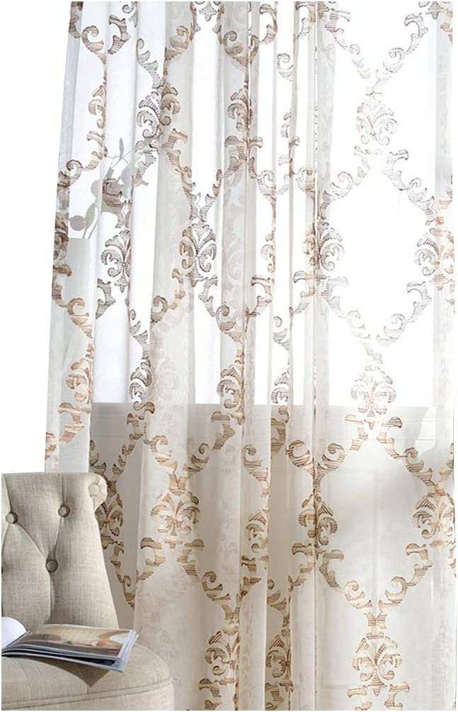 Modern Sheer Curtains Embroidered Style Window Curtain Pan Voile Atlanta Mall Large discharge sale
