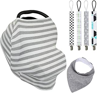 Baby Car Seat Cover Canopy, Baby Nursing Cover for Breastfeeding Multi-Use Stretchy Infinity Scarf Shopping Cart Cover, Pacifier Clip Sets