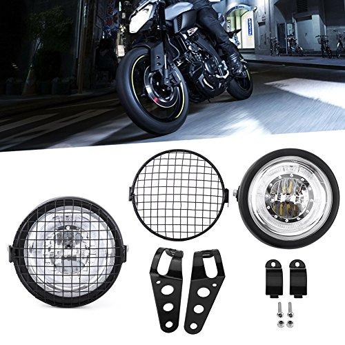 Moto Faro Frontale 6.5' con Faro Griglia Cappuccio,Universale Griglia Faro per Motociclo