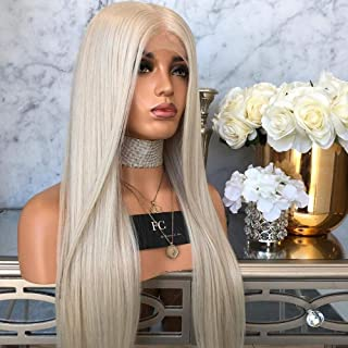 """Hairpieces Hairpieces New Europe and The United States Before The lace Wig Hair Gray Hair Long Straight Hair Matte high Temperature Silk Chemical Fiber Hair Sets for Daily Use and Party (Size : 24"""")"""