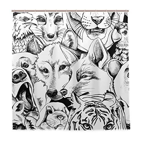 Nobranded Waschbarer Badezimmer-Duschvorhang wasserdicht – Portrait von Bär Tiger Wolf Fuchs Papagei Kaninchen Adler Waschbär Maschine Stoff Duschvorhänge mit Haken 183 x 183 cm