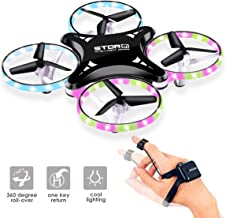 Mini Drone, RC Quadcopter LED UFO, Watch Sensor Aircraft Drone for Kids, 2.4 Ghz 4-Axis Gyro Helicopter with Altitude Hold, Easy Flying Toys for Kids and Adults (Can Be Extended)