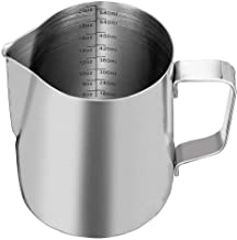SZUAH Milk Frothing Pitcher, Stainless Steel Frothing Cup with Measurement Inside 20oz (600ml), Perfect for Latte Art, Espresso Maker, Cappuccino Maker