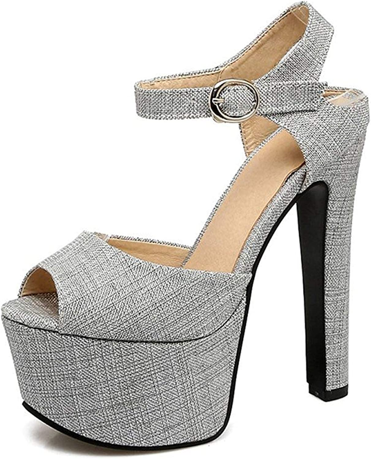 Unm Women's Platform Sandals with Ankle Strap - Sexy Club Buckled Chunky shoes - Peep Toe Very High Heel