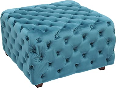 Homebeez Velvet Ottoman Bench Cube Foot Rest Stool Square Coffee Table (Teal)