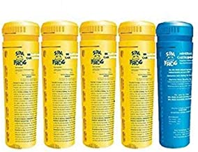 SPA FROG 5 Pack Replacement cartridges- 4 Bromine/1 Mineral- (Bundled with Pearsons Scumball Absorber)