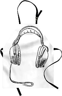 Ambesonne Music Apron, Sketch Style Hand Drawn DJ Headphones Rhythm Radio Modern Hippie Art Illustration, Unisex Kitchen Bib with Adjustable Neck for Cooking Gardening, Adult Size, Black White