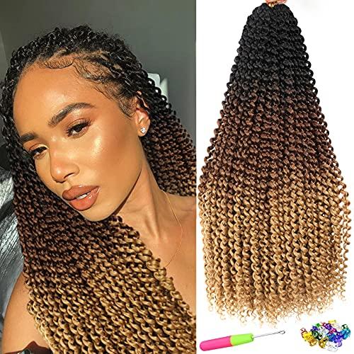 Passion Twist Crochet Hair 6 paquetes de 56 cm QingJun- Bohemia Pre Looped Pelo sintético onda de agua natural trenzas de ganchillo Passion Twist Hair para mujeres negras (56 cm T1B/30/27#)