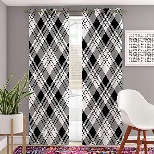 MOOTFAY Plaid Curtains, Pixel Black White Plaid Abstract Britain Celtic Check Checkered Grommet Top Blackout Window Curtains, for Living Room Bedroom Window Drapes 2 Panel Set, 104' X 96'
