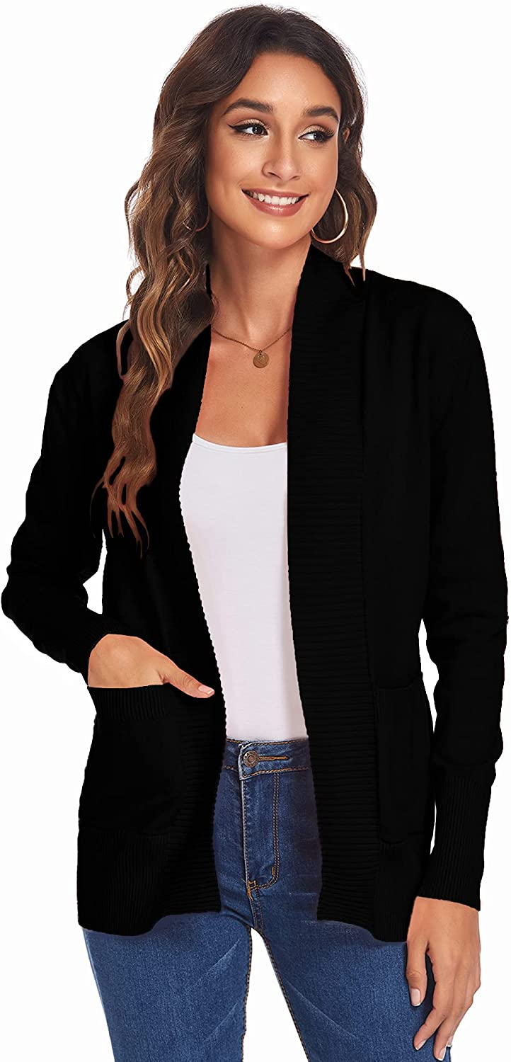 Newchoice Womens Lightweight Long Sleeve Open Front Knit Cardigan Sweaters with Pockets