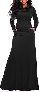 Women Cowl Neck Long Sleeve Loose Plain Long Maxi Dresses with Pockets