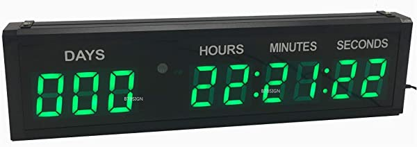 BTBSIGN LED Countdown Clock Safety Event Timer With Remote And Buttons For 1 8 9 Digits Green